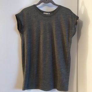 Zara Grey T Shirt W Metallic Sleeve Band